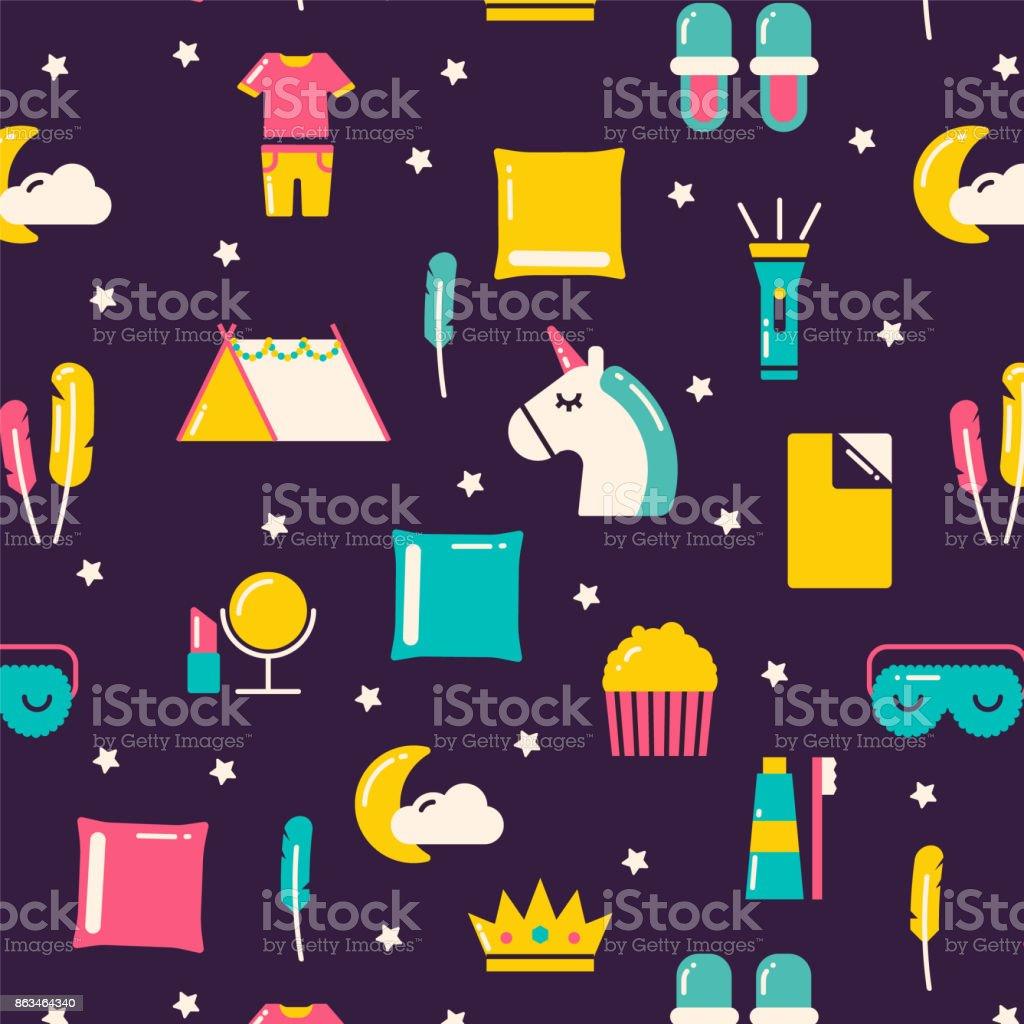 Girls sleepover pattern. vector art illustration