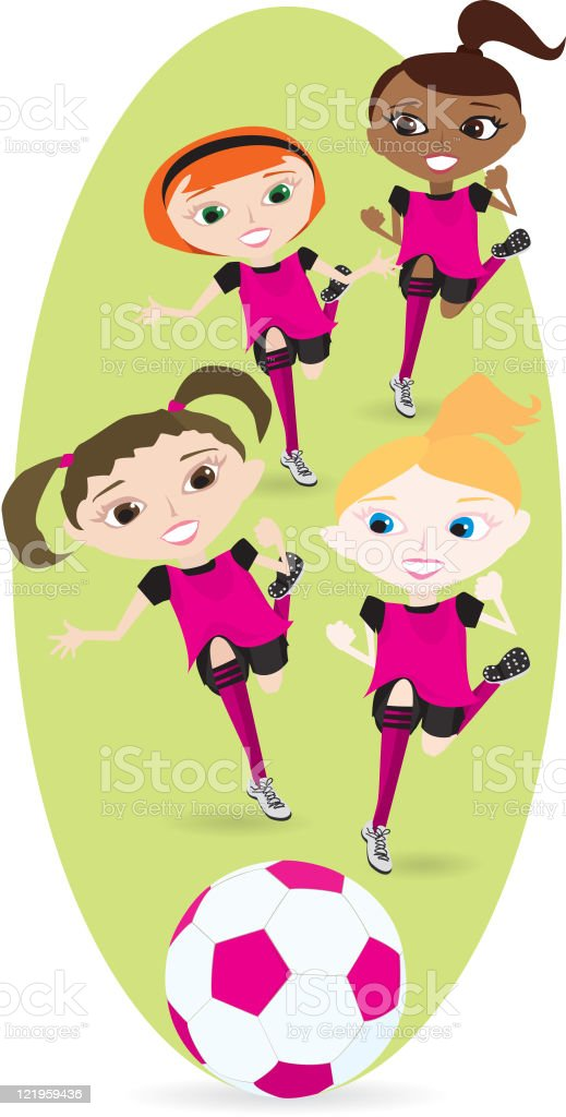 Girls Soccer or Football Players royalty-free stock vector art