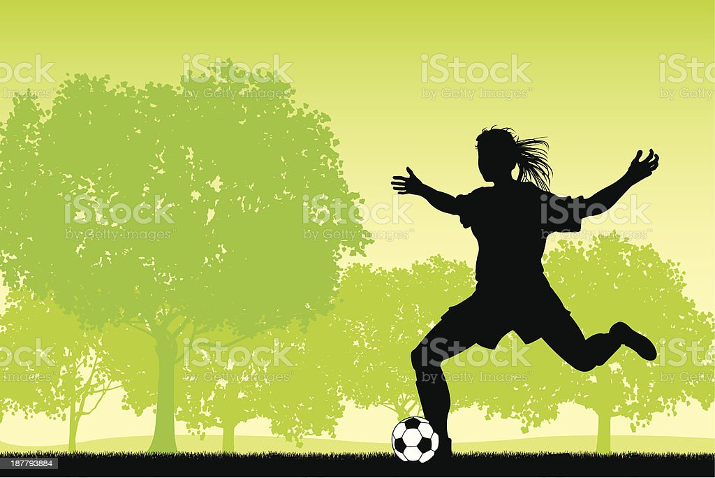 Girls Soccer Player Background royalty-free stock vector art