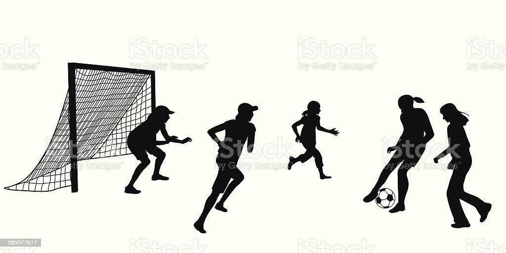 Girls Soccer Vector Silhouette vector art illustration