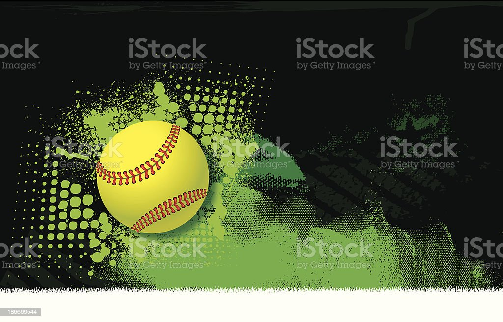 Girls Softball All-Star Background - Ball vector art illustration