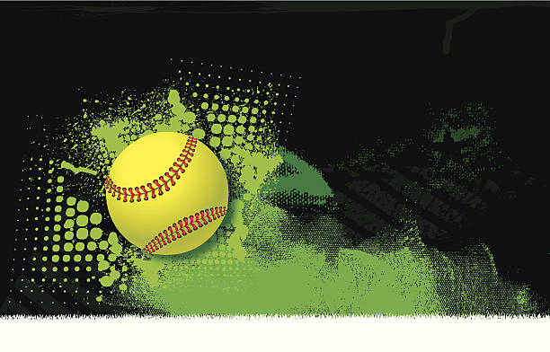 girls softball all-star background - ball - softball stock illustrations, clip art, cartoons, & icons