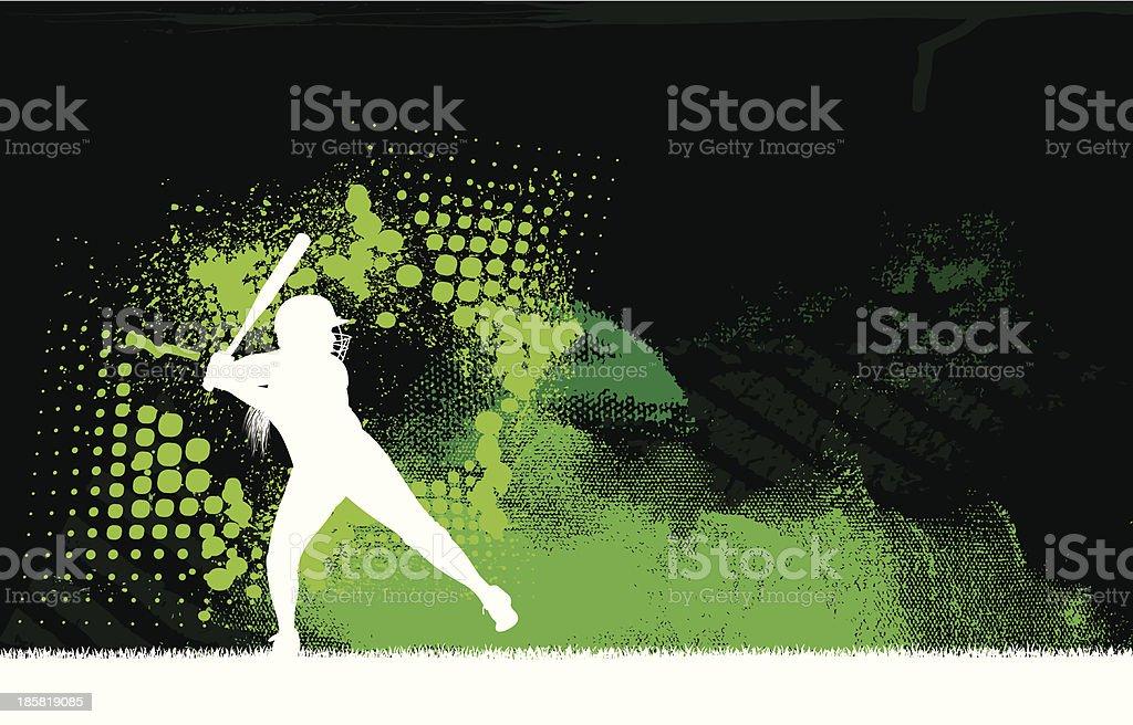 Girls Softball All-Star Background - Batter vector art illustration