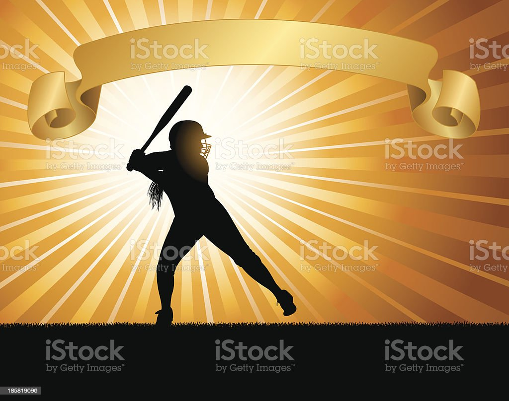 Girls Softball All-Star Background - Batter with Banner royalty-free stock vector art