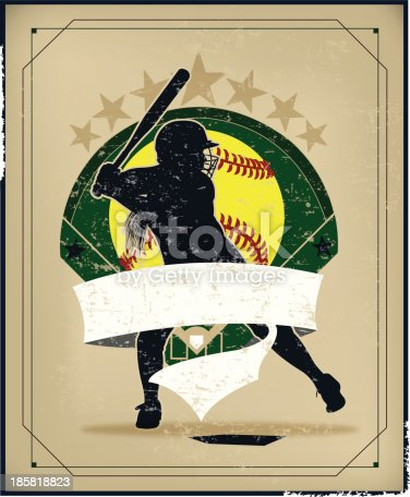 Girls Softball. Graphic retro background Illustration of a Girls Softball Batter, All-Star. Check out my