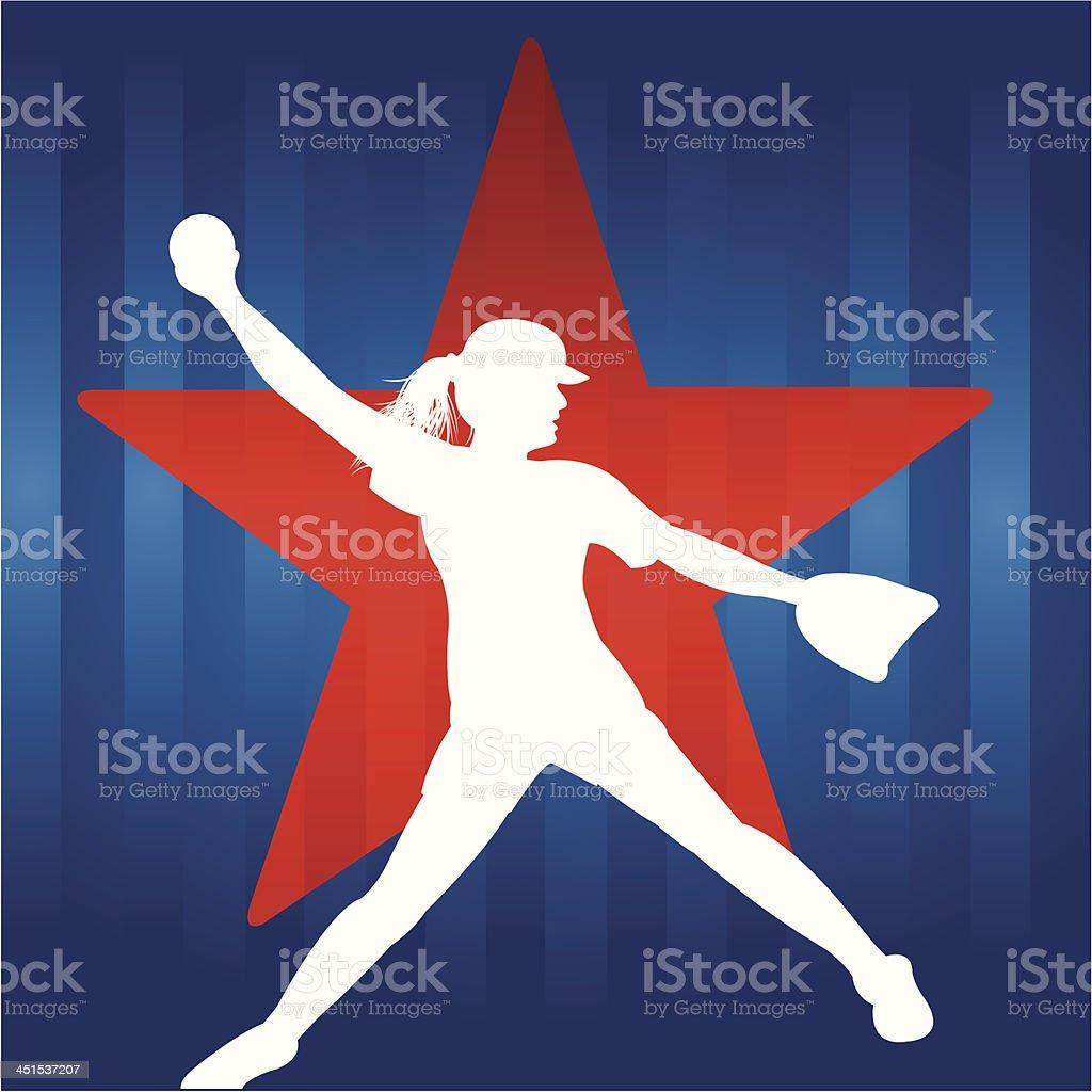 ガールズソフトボールの星 ベクターアートイラスト