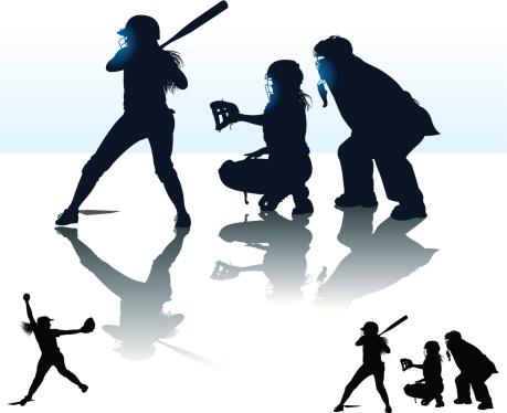 Girls Softball - At Bat, Catcher, Batter, Umpire, Pitcher