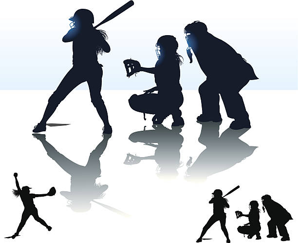 girls softball - at bat, catcher, batter, umpire, pitcher - softball stock illustrations, clip art, cartoons, & icons
