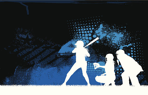 girls softball batter all-star background - softball stock illustrations, clip art, cartoons, & icons