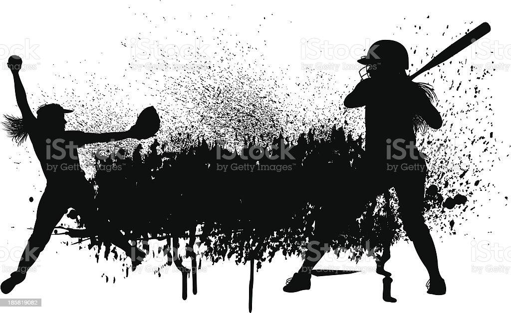 Girls Softball Grunge Graphic - Batter, Pitcher royalty-free stock vector art