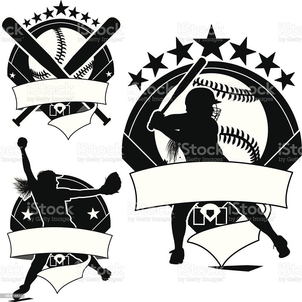 Girls Softball Icons, Pitcher, Batter, Ball Background vector art illustration