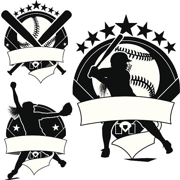 ガールズソフトボールアイコン、ピッチャー、生地、ボール - ソフトボール点のイラスト素材/クリップアート素材/マンガ素材/アイコン素材