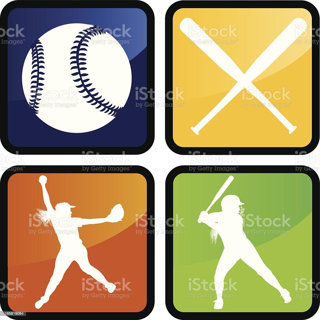 Girls Softball - Icons, Pitcher, Batter, Ball, Bat vector art illustration