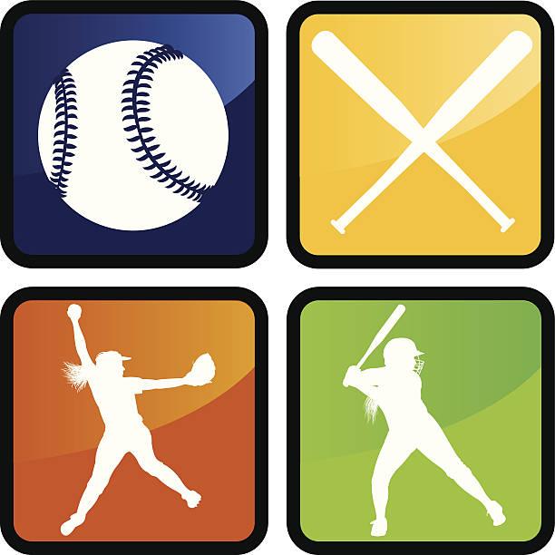 ガールズソフトボール-アイコン、ピッチャー、生地、ボール、バット - ソフトボール点のイラスト素材/クリップアート素材/マンガ素材/アイコン素材
