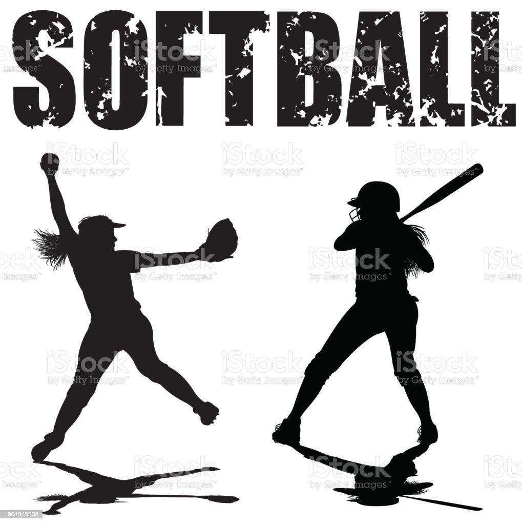 Lanzadora de Softbol de niñas y rebozado con mecanografiado - ilustración de arte vectorial