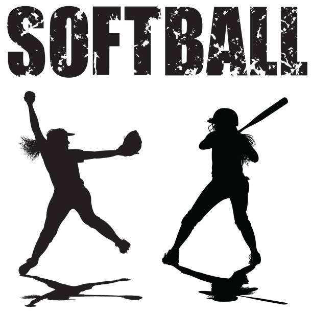 girls softball pitcher and batter with typescript - softball stock illustrations, clip art, cartoons, & icons