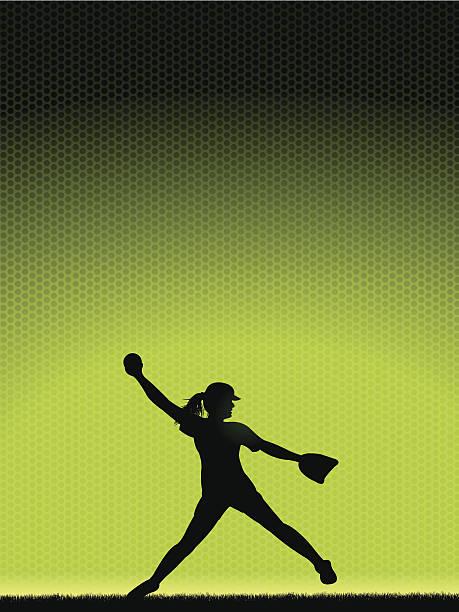 ガールズソフトボールピッチャー-背景 - ソフトボール点のイラスト素材/クリップアート素材/マンガ素材/アイコン素材