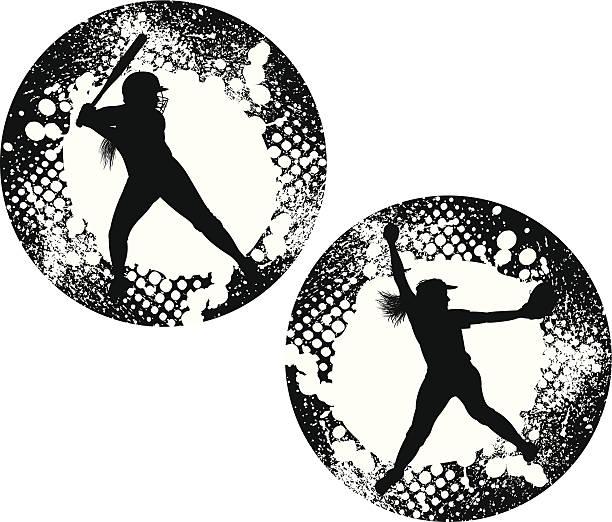 ガールズソフトボールピッチャー&衣グランジグラフィックの星 - ソフトボール点のイラスト素材/クリップアート素材/マンガ素材/アイコン素材