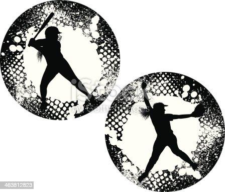 Girls Softball Pitcher Batter Grunge Graphic Allstar Stock ...