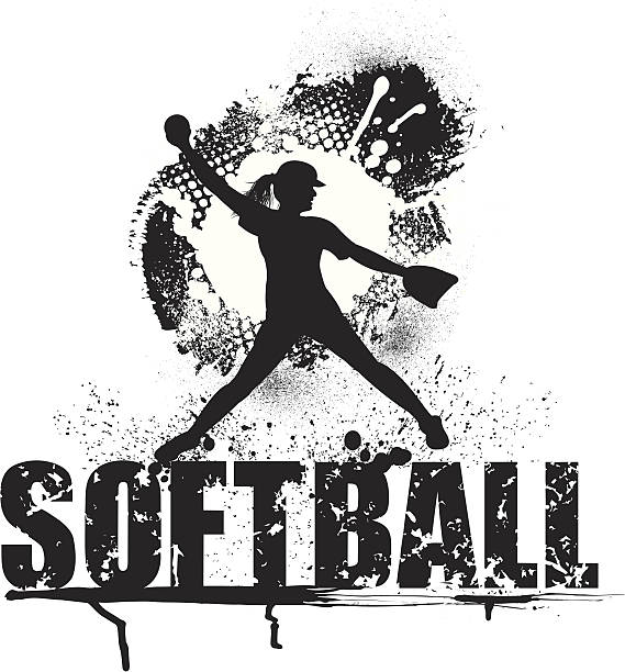 girls softball pitcher grunge style - all-star - softball stock illustrations, clip art, cartoons, & icons