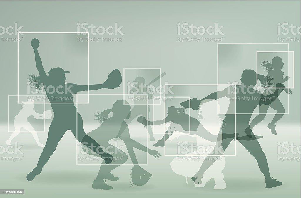 Niñas Softball jugadores All-Star de fondo - ilustración de arte vectorial