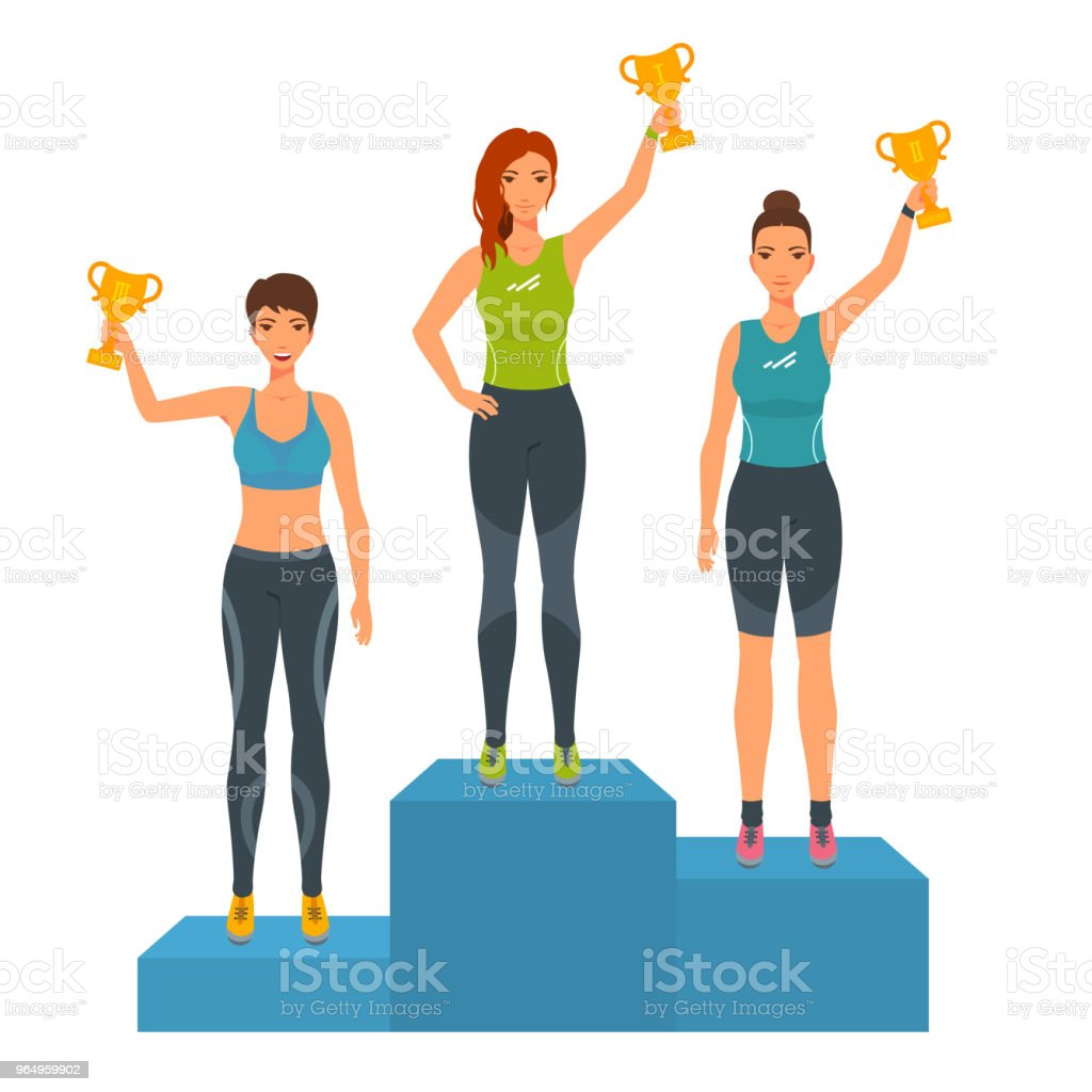Girls stand on podium, awarded with trophies. vector art illustration