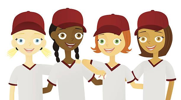 Girls Team vector art illustration