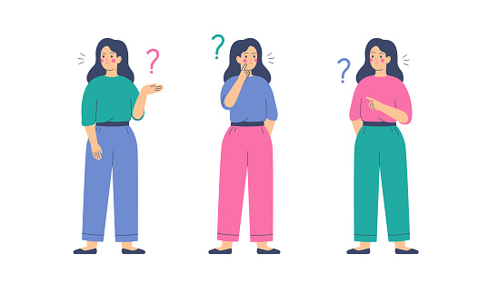 Girls think and ask questions. Women surrounded by question marks.