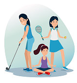 girls training exercise balance activity to summer sport vector illustration