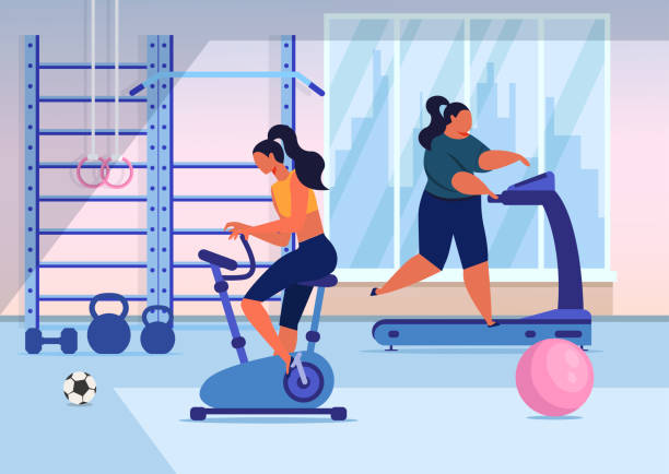 Girls Training in Gym Flat Vector Illustration