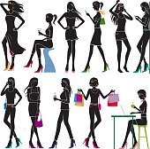 Detailed girl silhoulettes.