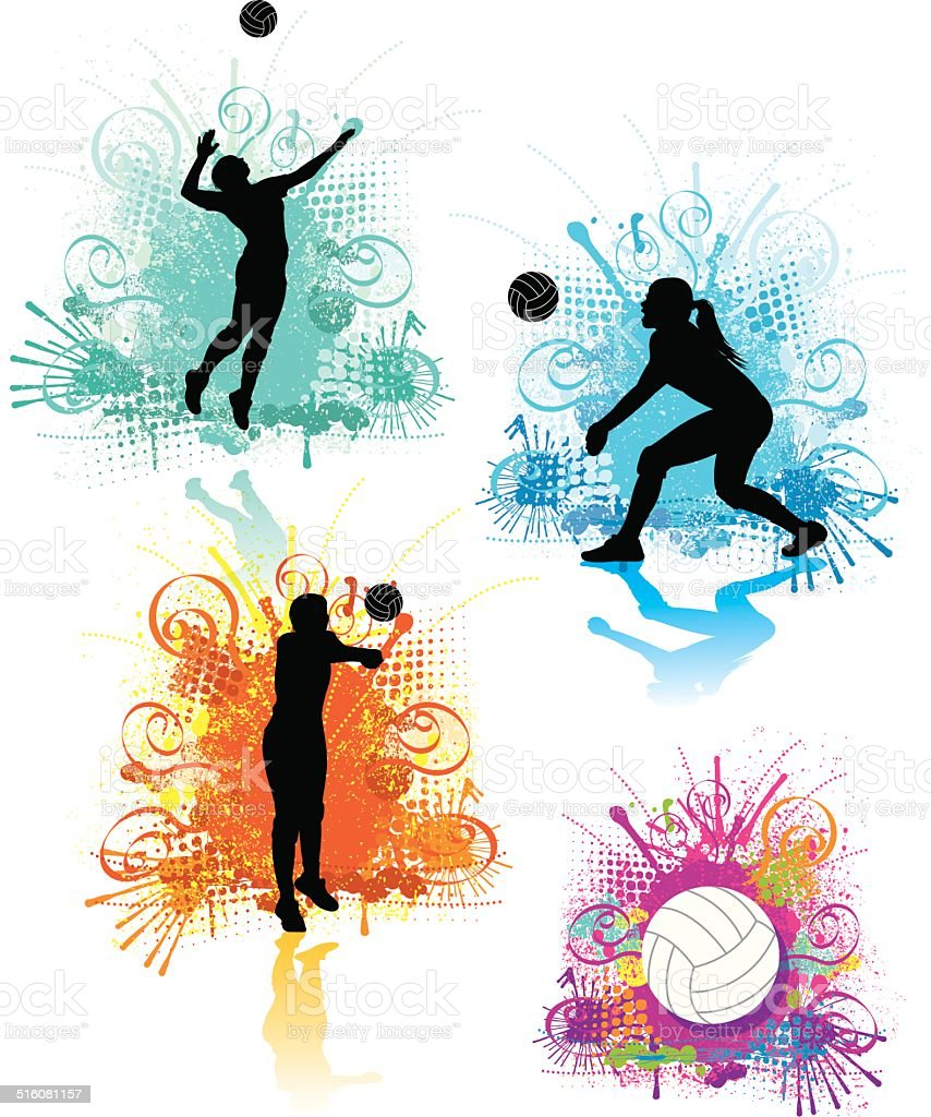 Girls Volleyball Graphics vector art illustration