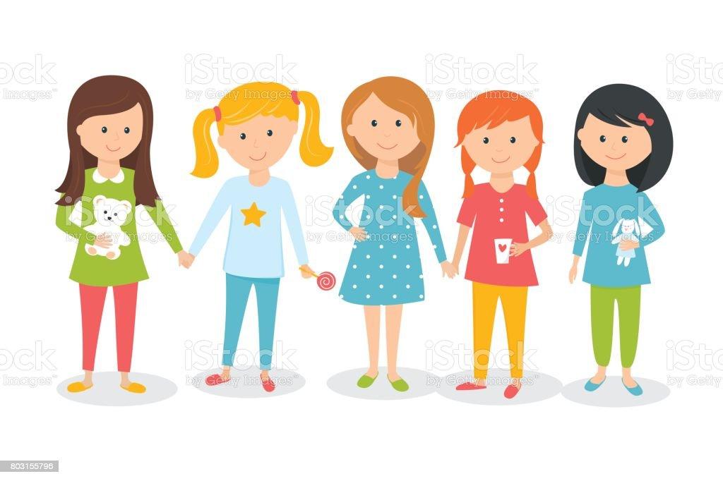 74247f2d08 Ilustración de Chicas Vistiendo Pijamas Pijamada De Niños O Fiesta  Ilustración De Vector De Estilo De Dibujos Animados y más Vectores Libres  de Derechos de ...