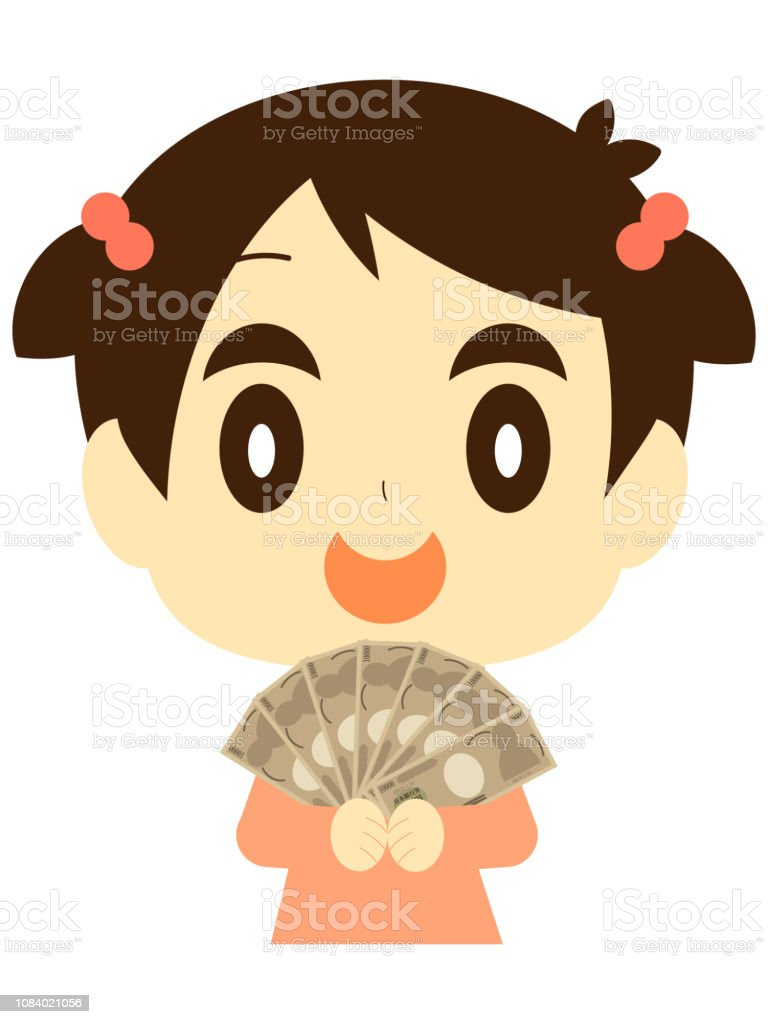 Girls with big money vector art illustration