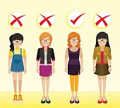 Girls with different attires