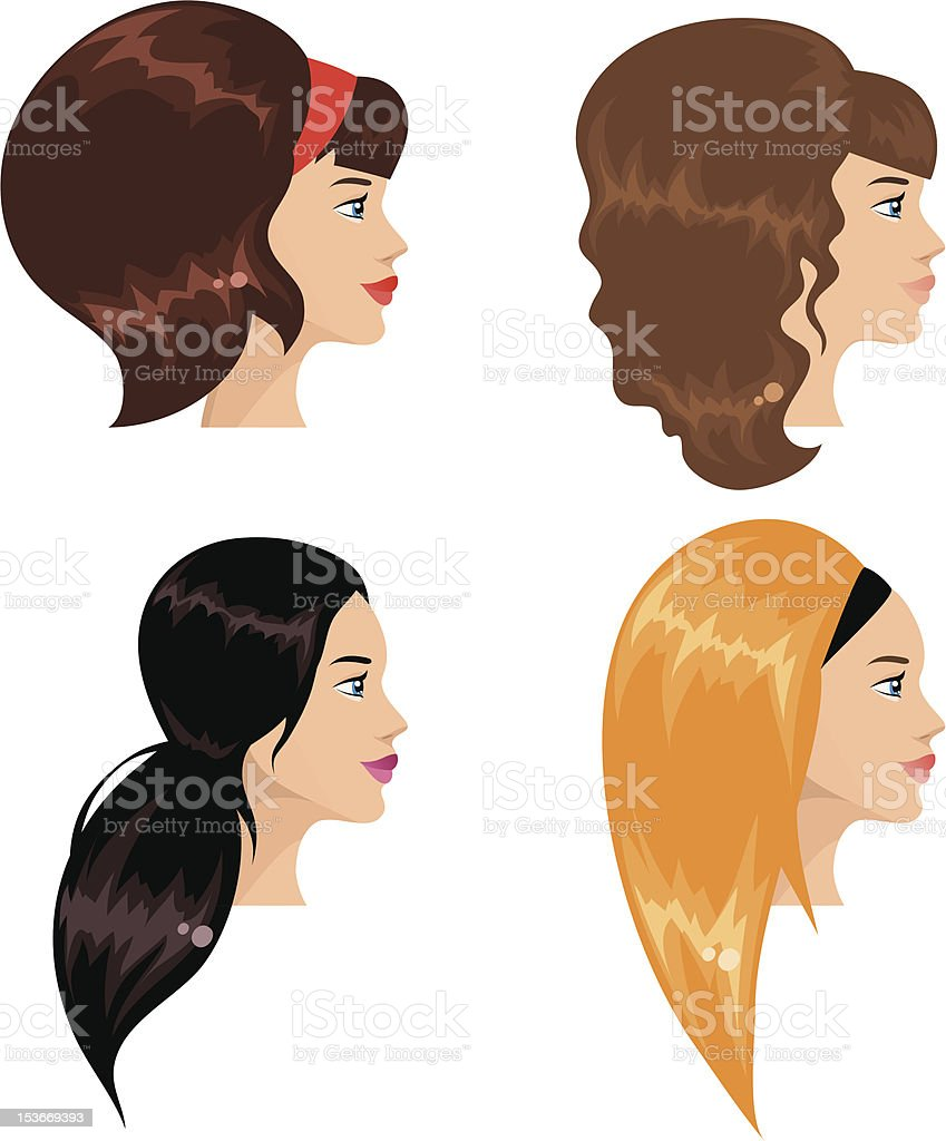 Girls With Different Hairstyle Stock Illustration Download Image Now Istock