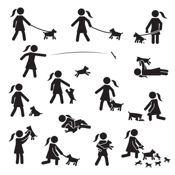 ilustrações de stock, clip art, desenhos animados e ícones de girls with small bread dogs icon set. vector. - training