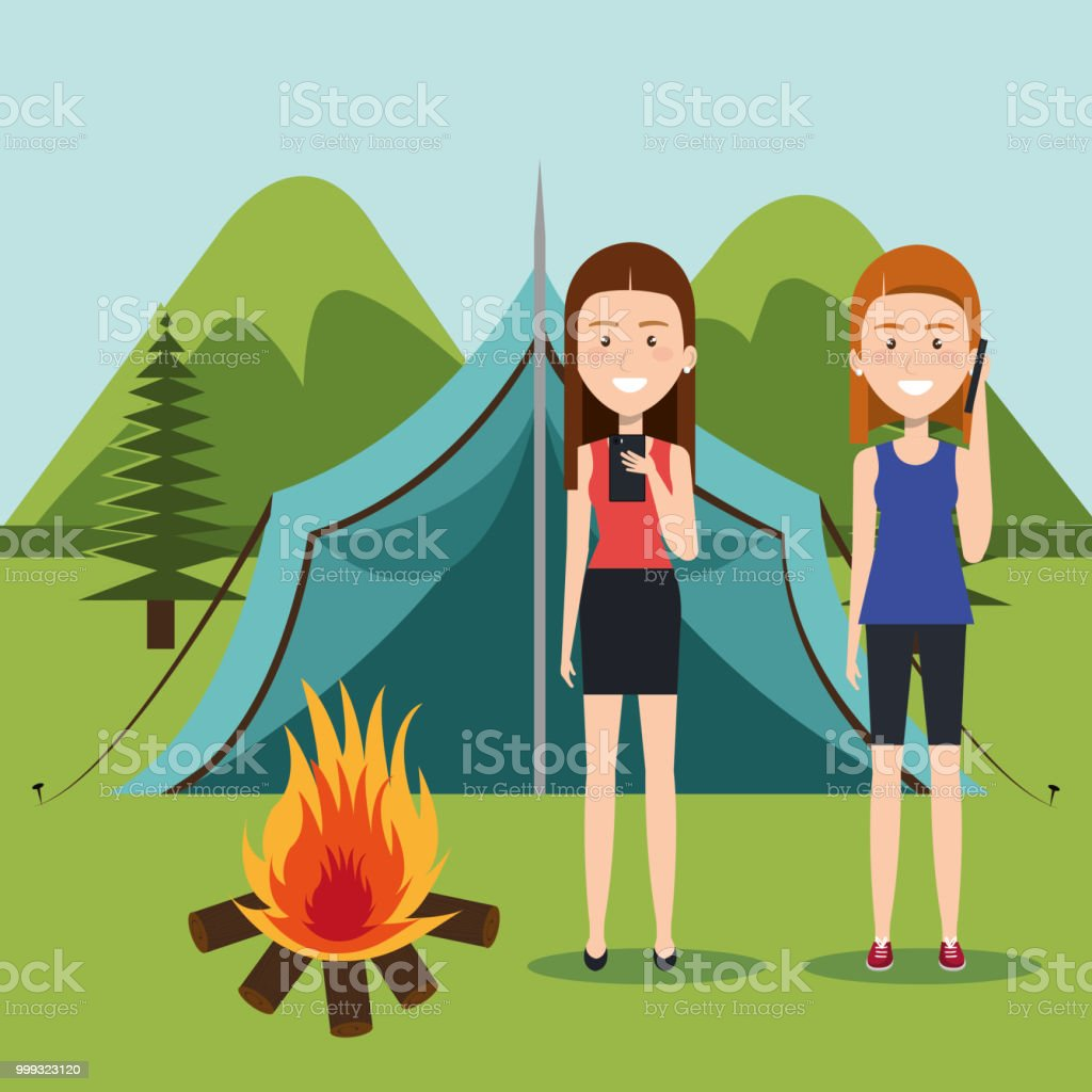 girls with smartphones in the camping zone vector illustration design