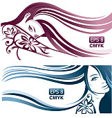 Girls with long wavy hair and different tattoo on hands. Design for beauty salon and fashion hair style. CMYK colors. EPS 8.