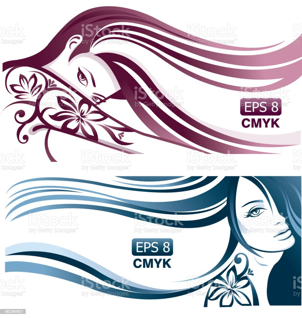Girls with wavy hair and tattoos vector art illustration