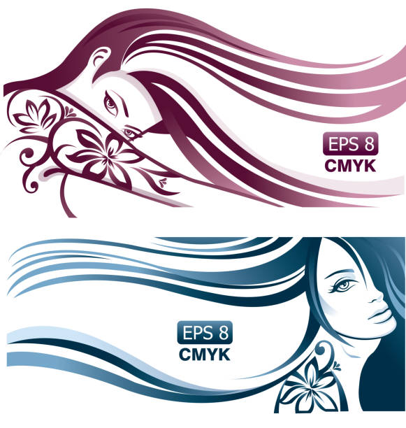 girls with wavy hair and tattoos - beauty salon stock illustrations, clip art, cartoons, & icons