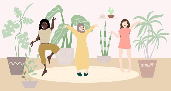 Girls, women of different nationalities do yoga among indoor plants. African American, Arabian, European culture. Vitiligo of the skin.