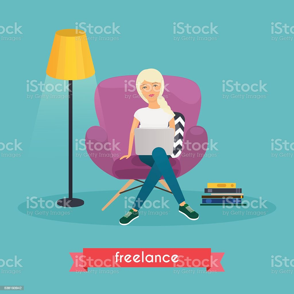 Girls working at home. Young woman sitting on a chair vector art illustration