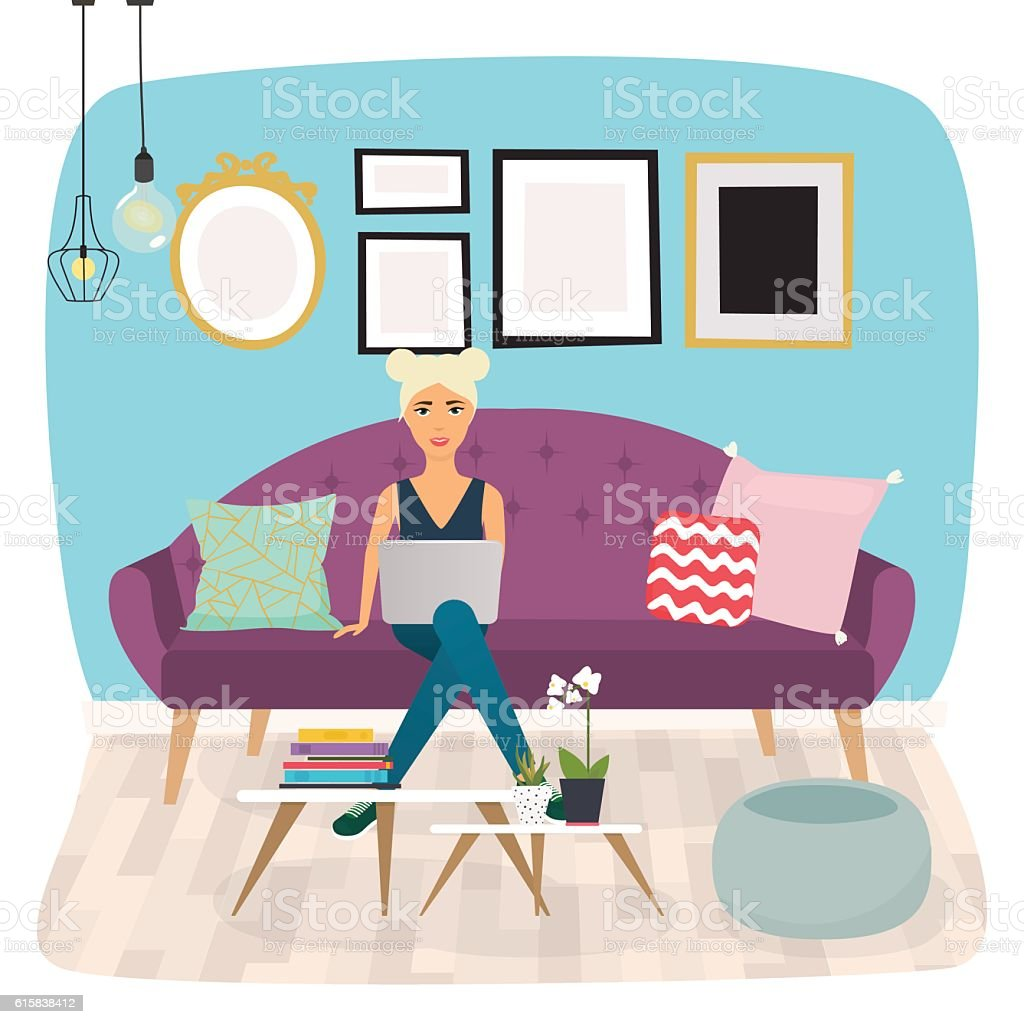 Girls working at home. Young woman sitting on a sofa - ilustración de arte vectorial