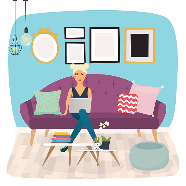 girls working at home. young woman sitting on a sofa - telecommuting stock illustrations, clip art, cartoons, & icons