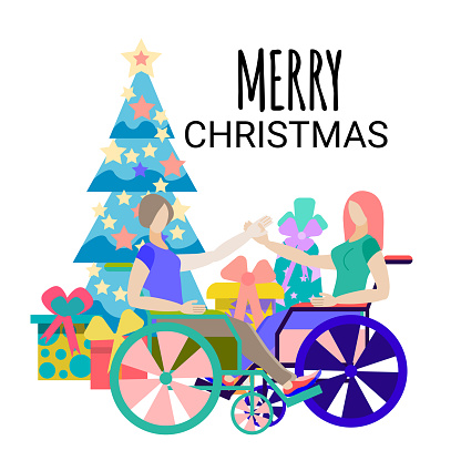 Girls-friends in wheelchairs celebrate the New year. Disabled friends hold hands near the Christmas tree with gifts. Vector illustration in a flat style, isolated on a white background.Merry Christmas