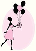 A cute vintage style girl holding a bunch of balloons. Click below for more sexy girls