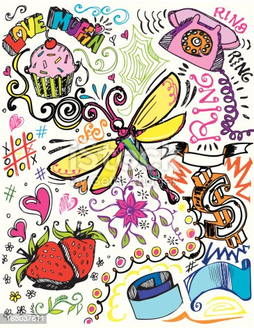 Scratchy hand drawn girly doodles. 300 dpi jpg included. Includes, retro phone, cupcake, dragonfly and starberries and other fun little elements