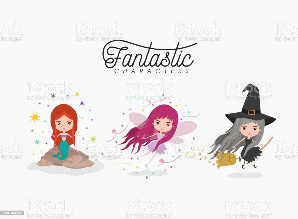 girly fantastic character set of mermaid fairy and witch on white background vector art illustration