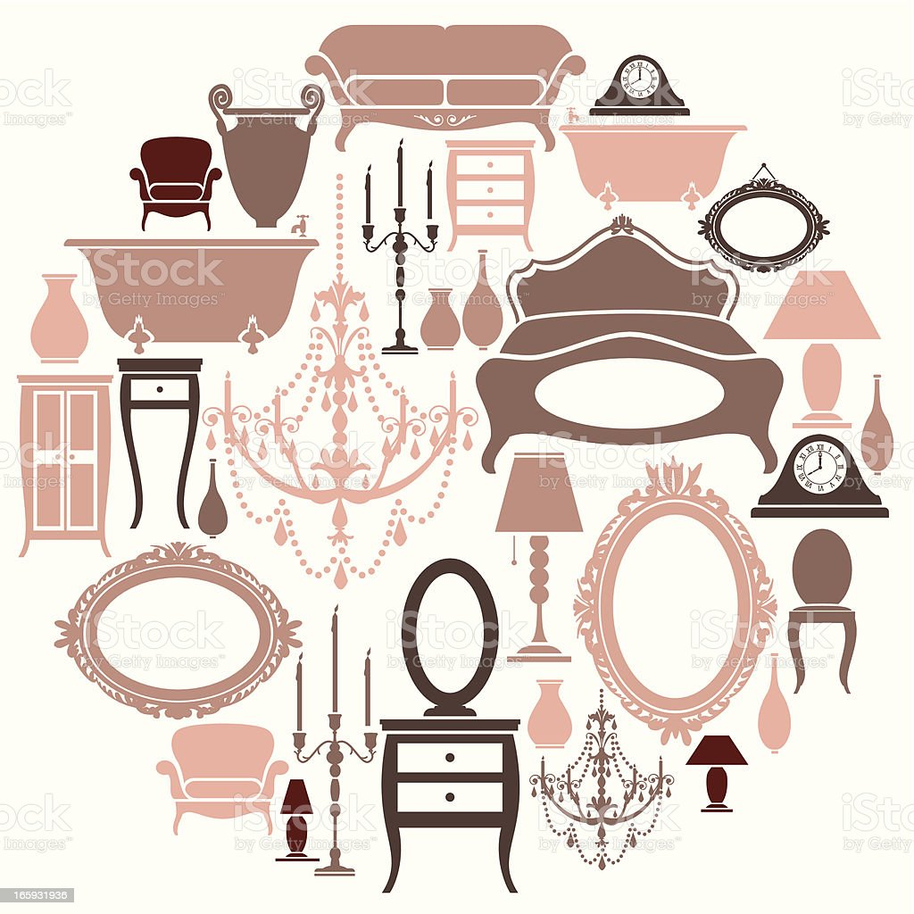 Girly Furniture Set royalty-free stock vector art